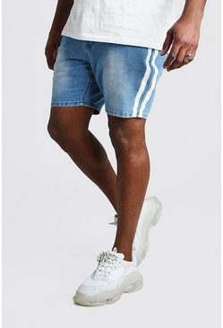 Light wash Big And Tall Slim Jean Short With Stripe