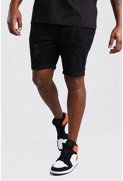 Black Big And Tall Skinny Distressed Jean Short