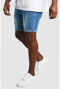 Mid blue Big And Tall Skinny Distressed Denim Short