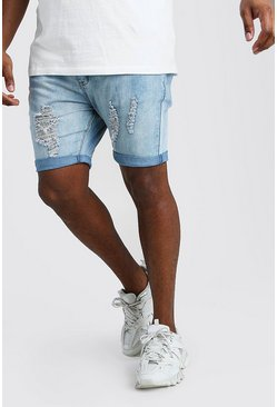 Washed blue Big And Tall Skinny Distressed Jean Short