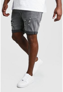 Grey Big And Tall Skinny Distressed Jean Short