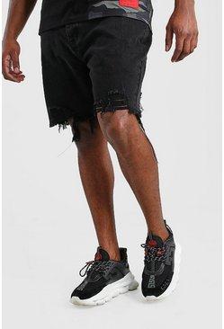 Washed black Big And Tall Slim Raw Hem Jean Short