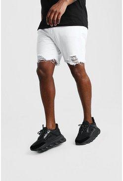 White Big And Tall Slim Raw Hem Jean Short