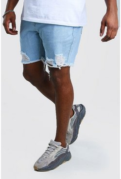 Light blue Big And Tall Slim Raw Hem Jean Short