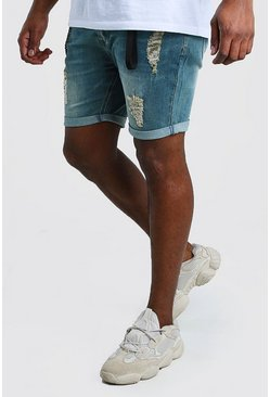 Mid blue Big And Tall Skinny Jean Short With Hardware