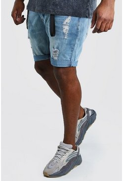 Pale blue Big And Tall Skinny Denim Short With Hardware