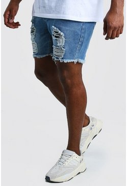 Mid blue Big And Tall Slim Jean Short With Distressing