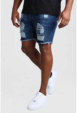 Dark blue Big And Tall Slim Jean Short With Distressing