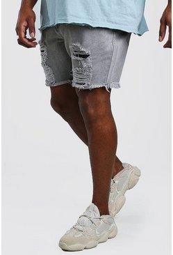 Grey Big And Tall Slim Denim Short With Distressing