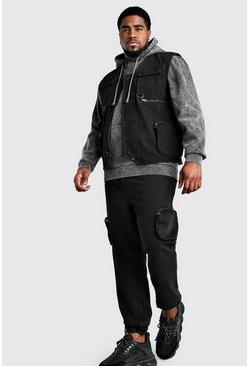 Washed black Big And Tall Denim Utility Vest