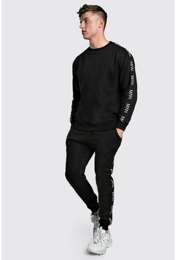 Black Loose Fit Sweater Tracksuit With Original MAN Tape