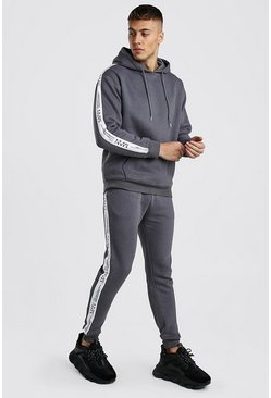 Charcoal Loose Fit Hooded Tracksuit With MAN LTD Tape