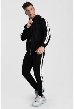 Black Zip Through Hooded Tracksuit With Tape