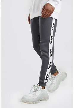 Mens Charcoal Skinny Fit Joggers With MAN Repeat Tape