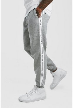 Grey marl Loose Fit Jogger With MAN LTD Tape