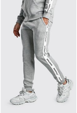 Mens Grey Skinny Fit Jogger With MAN Official Tape