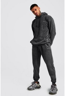 Charcoal MAN Acid Wash Loose Fit Hooded Tracksuit