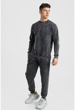 Charcoal MAN Signature Acid Wash Sweater Tracksuit