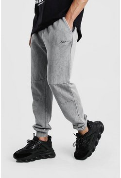 Grey MAN Signature Washed Panel Regular Jogger