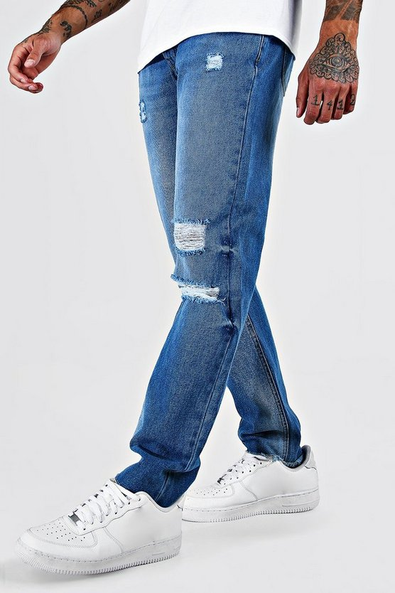 Blue Slim Fit Ripped Jeans