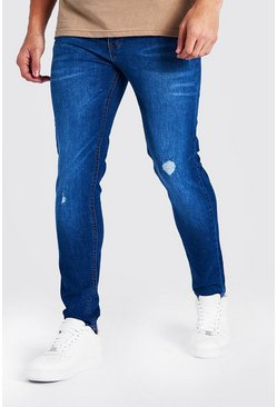 Mid blue Skinny Jean With Abrasions