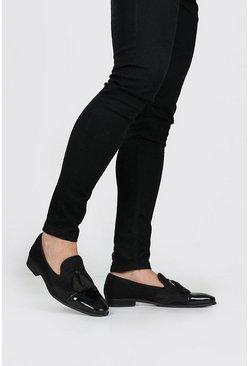 Black Shimmer Velvet Tassel Toecap Loafer