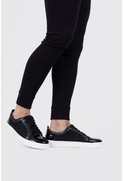 Black Toecap Textured Sneakers
