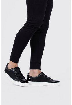 Black Toecap Textured Sneakers