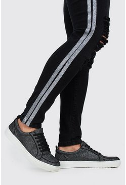 Black Full Glitter Lace Up Sneakers
