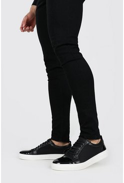 Black Side Detail Lace Up Trainer
