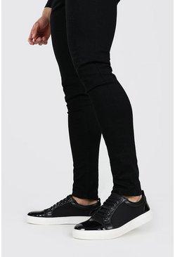 Black Side Detail Lace Up Sneaker