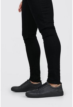 Black Tumbled PU Lace Up Sneakers