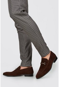 Brown Immi Suede Horse Bit Loafer