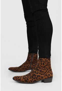 Chelsea-Boots mit Leopardenmuster, Leopard