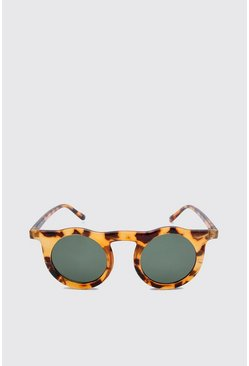 Brown Tortoise Frame Round Sunglasses