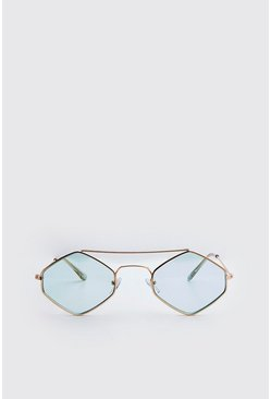 Blue Metal Frame Diamond Sunglasses
