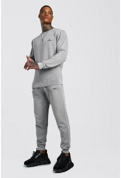 Grey MAN Signature Washed Sweater Tracksuit