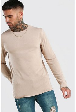 Camel Knitted Crew Neck Jumper