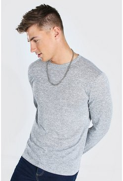 Grey marl Knitted Crew Neck Jumper