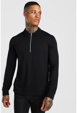 Black Knitted Zip Collar Polo