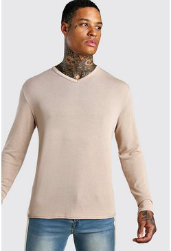 Camel Knitted Basic V Neck Jumper