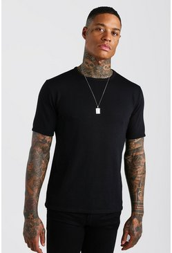 Black Short Sleeve Knitted Crew Neck T-Shirt