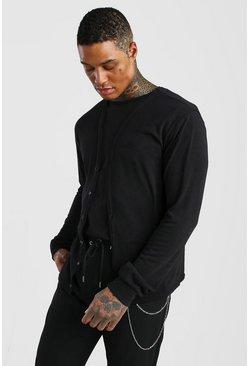 Black Basic Knitted Cardigan
