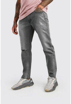 Grey Slim Fit Jeans With Distressing
