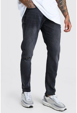 Black Slim Fit Jeans With Distressing