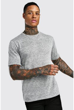 Grey Short Sleeve Knitted Crew Neck T-Shirt