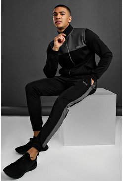 Black MAN Active Funnel Neck Panelled Poly Tracksuit