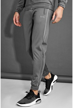 Charcoal MAN Poly Joggers With Reflective Detail