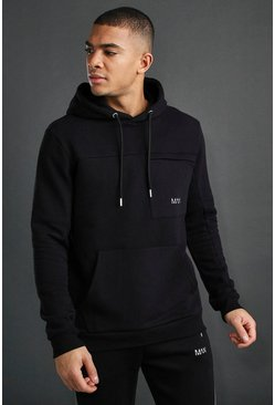 Black MAN Active Hoodie With Seam Detail
