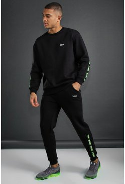 Black MAN Active Loose Fit Tracksuit With Tape Detail